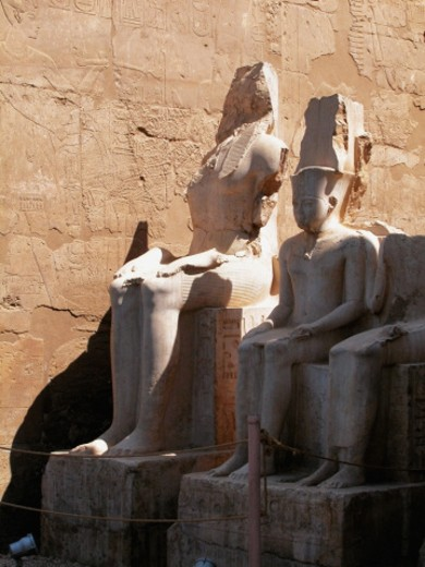 Close-up of two statues, Temple Of Luxor, Luxor, Egypt : Stock Photo