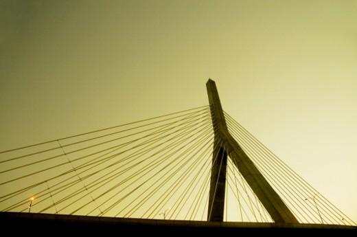 Low angle view of a bridge, Leonard P. Zakim Bunker Hill Bridge, Boston, Massachusetts, USA : Stock Photo