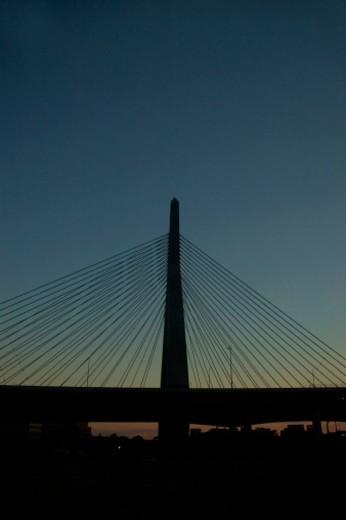 Stock Photo: 1598R-273738 Low angle view of a bridge, Leonard P. Zakim Bunker Hill Bridge, Boston, Massachusetts, USA