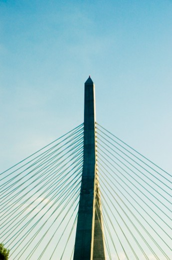 Stock Photo: 1598R-273800 High section view of Leonard P. Zakim Bunker Hill Bridge, Boston, Massachusetts, USA