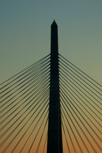 Stock Photo: 1598R-273961 Low angle view of a bridge, Leonard P. Zakim Bunker Hill Bridge, Boston, Massachusetts, USA