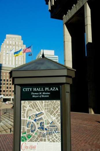 Stock Photo: 1598R-273984 Map of a locality in front of a building, Boston City Hall, Boston, Massachusetts, USA