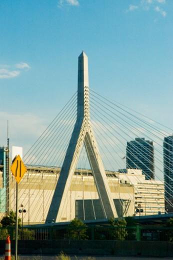 Stock Photo: 1598R-274067 High angle view of a bridge, Leonard P. Zakim Bunker Hill Bridge, Boston, Massachusetts, USA