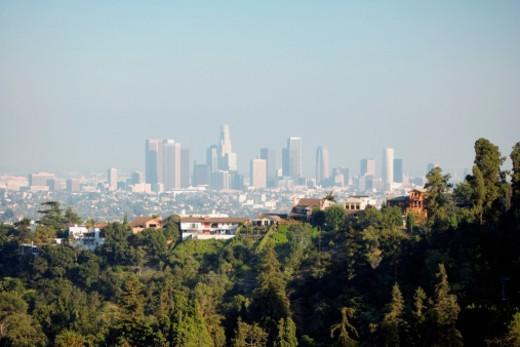 Panoramic view of Los Angeles, Los Angeles, California, USA : Stock Photo