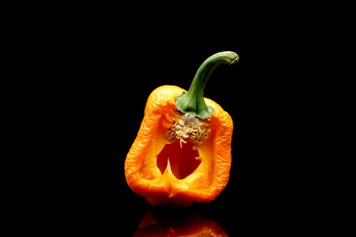 Rotting orange bell pepper (capsicum annuum) cut in half on a black background : Stock Photo
