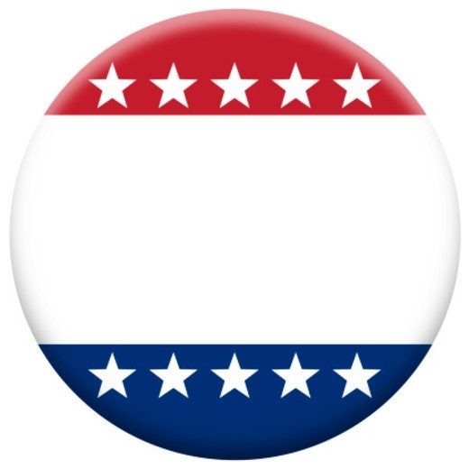 A blank patriotic button. Add your own message. : Stock Photo