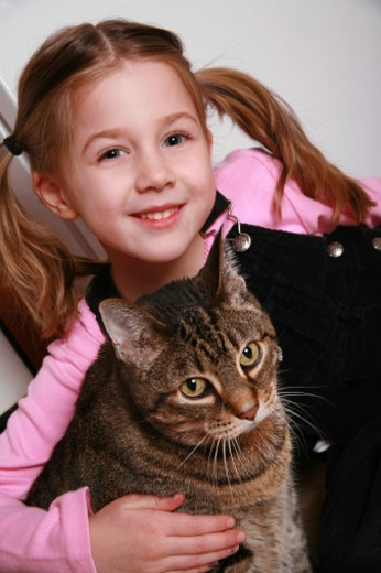 A beautiful 6 year old girl with her cat. : Stock Photo