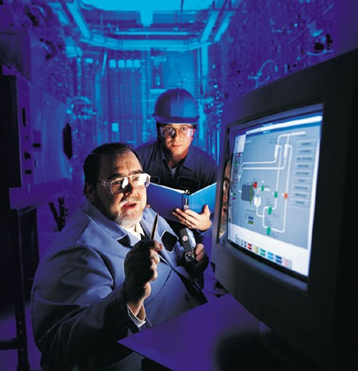 Stock Photo: 1598R-280845 Two Technicians Looking at a Computer Monitor