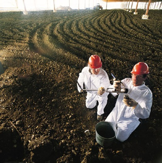 Stock Photo: 1598R-280854 Two technicians collecting soil samples
