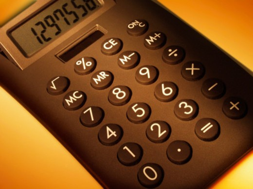 High angle view of a calculator : Stock Photo