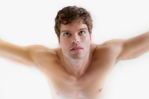 High angle view of a mid adult man exercising : Stock Photo
