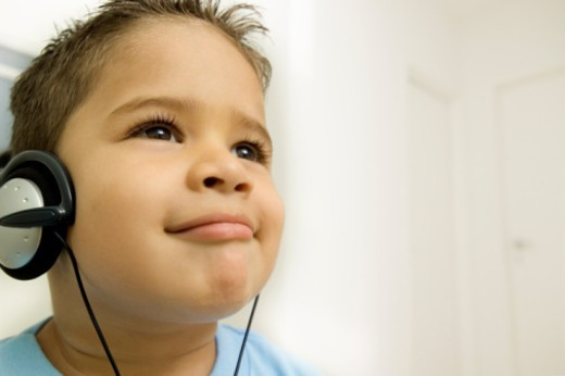 Stock Photo: 1598R-284741 Young boy wearing a headset