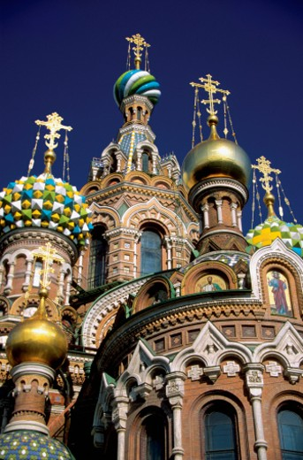 Saviour of the Blood Church in St. Petersburg, Russia, low angle view, close-up : Stock Photo