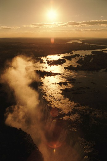 Zimbabwe, Victoria Falls at sunset, aerial view : Stock Photo