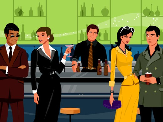 Men and women drinking beer and cocktails at bar counter : Stock Photo