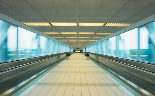 Airport corridor (blurred motion) : Stock Photo
