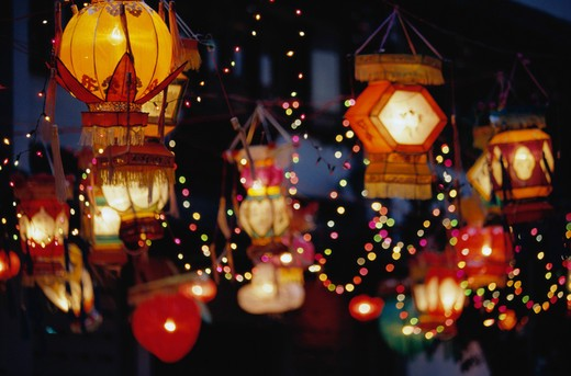 Stock Photo: 1598R-41644 Singapore, Tang Dynasty Village, New Year's paper lanterns