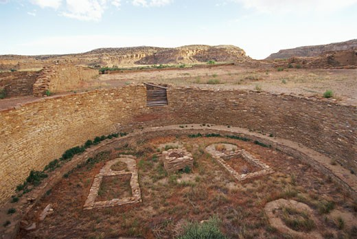 USA, New Mexico, Chaco Canyon, Pueblo Bonito ruins : Stock Photo