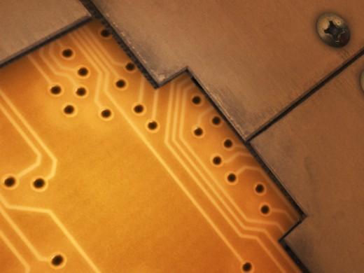 Circuit board, close-up : Stock Photo