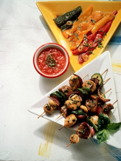 Stock Photo: 1598R-5581 Meat Skewers & marinated Vegetables