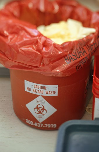 Bio hazard waste bin : Stock Photo