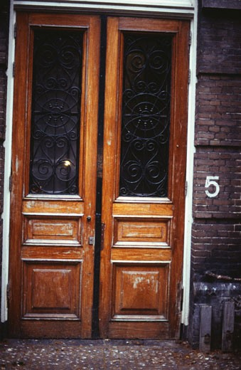 Wooden front door, Amsterdam, Holland : Stock Photo