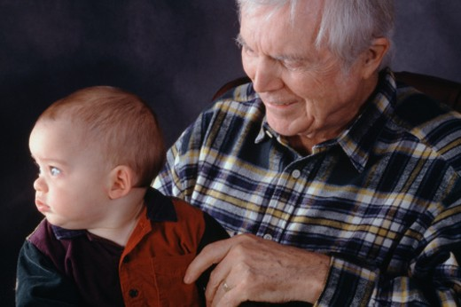 Stock Photo: 1598R-64362 grandfather and baby