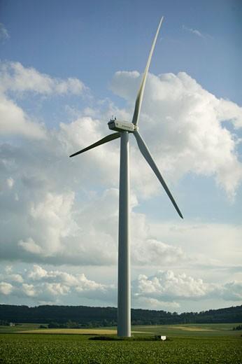 Power generating wind turbine in countryside : Stock Photo
