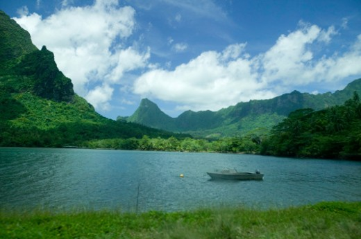 Stock Photo: 1598R-65243 Boat on tranquil lake in mountains
