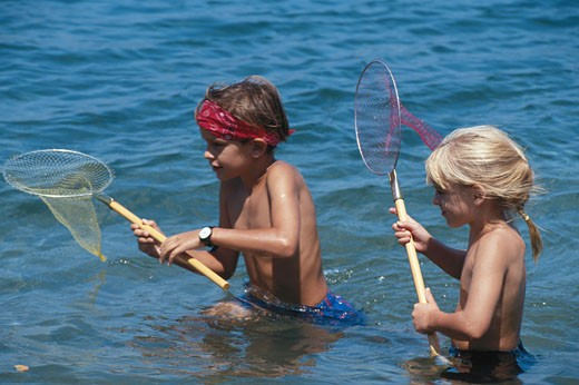 Girl and boy (4-7) fishing in sea with fishing net : Stock Photo