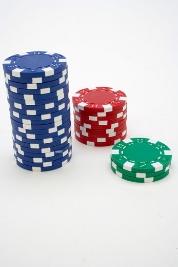 Three stacks of gambling chips : Stock Photo
