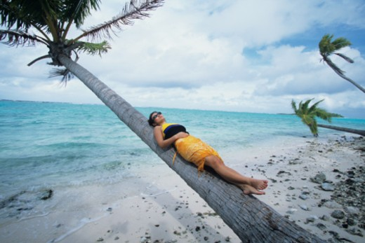 Stock Photo: 1598R-68169 Woman laying on tree suspended over sand