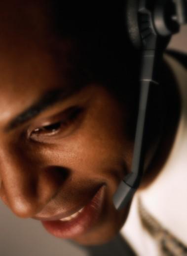 Close-up of a Customer Service Representative : Stock Photo
