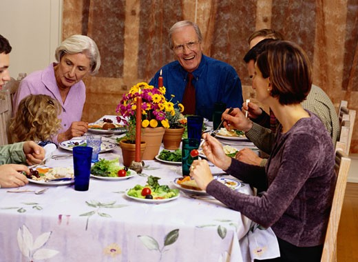 Family Eating a Meal : Stock Photo
