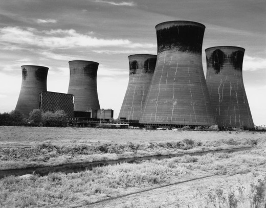 Cooling Towers at a Coal Fired Nuclear Power Plant : Stock Photo