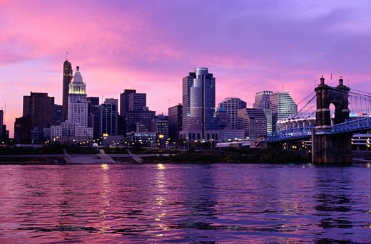 Sunset Over Cincinnati and the Ohio River : Stock Photo