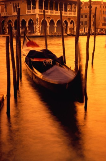 Stock Photo: 1598R-71916 Gondola at Sunset, Venice, Italy