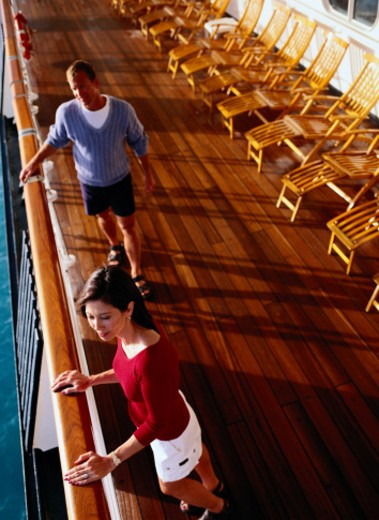 Stock Photo: 1598R-74034 Couple Talking on Deck of Cruise Ship