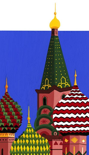 Stock Photo: 1598R-75334 St. Basil's Cathedral, Red Square, Moscow, Russia