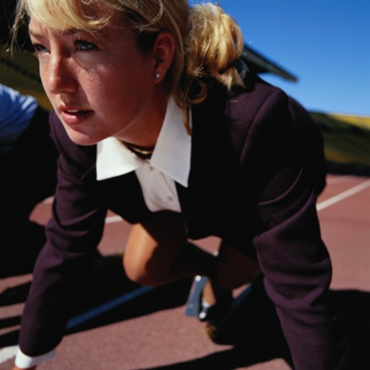 Businesswoman at the Starting Line : Stock Photo