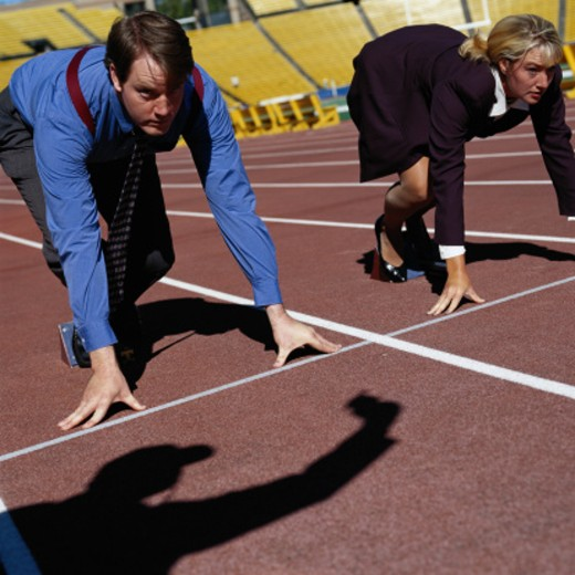 Businesspeople at a Starting Line : Stock Photo