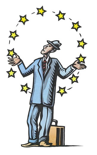 Businessman Juggling Stars : Stock Photo