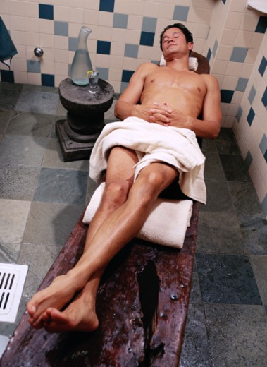Stock Photo: 1598R-83522 Man Lying on a Massage Table