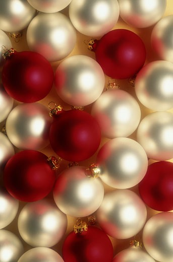 Stock Photo: 1598R-83559 Red and White Holiday Ornaments