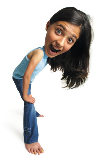 photo caricature of a teenager leaning forward on her knee and laughing : Stock Photo