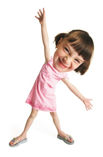 Stock Photo: 1598R-86192 photo caricature of a little girl pulling silly face and stretching her arms upwards