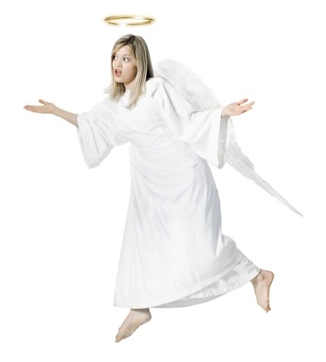 full length shot of a young adult female angel as she float through the air with her wings : Stock Photo