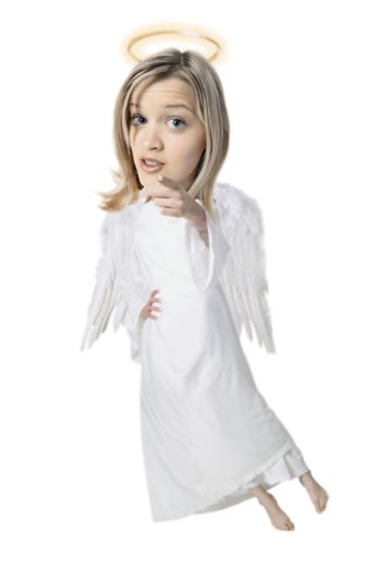 photo caricature of a blonde angel with wings and a halo as she points at the camera : Stock Photo