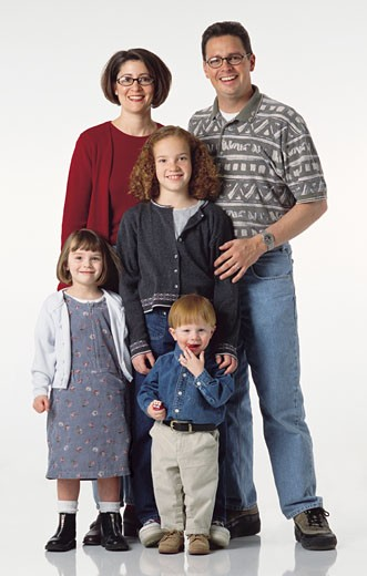 Stock Photo: 1598R-87655 happy caucasian family of five with dark and red hair