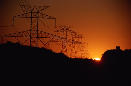 Pylons in the Sunset : Stock Photo